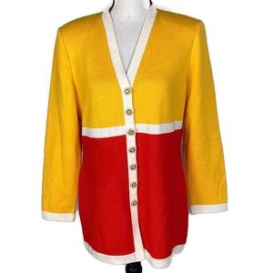 St. John Collection Colorblock Button up cardigan